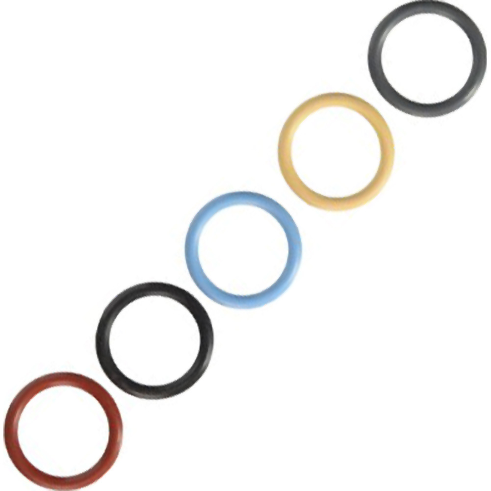 """M2m Nitrile 1.5"""" Cock Ring Assorted 5 Piece Pack - View #2"""