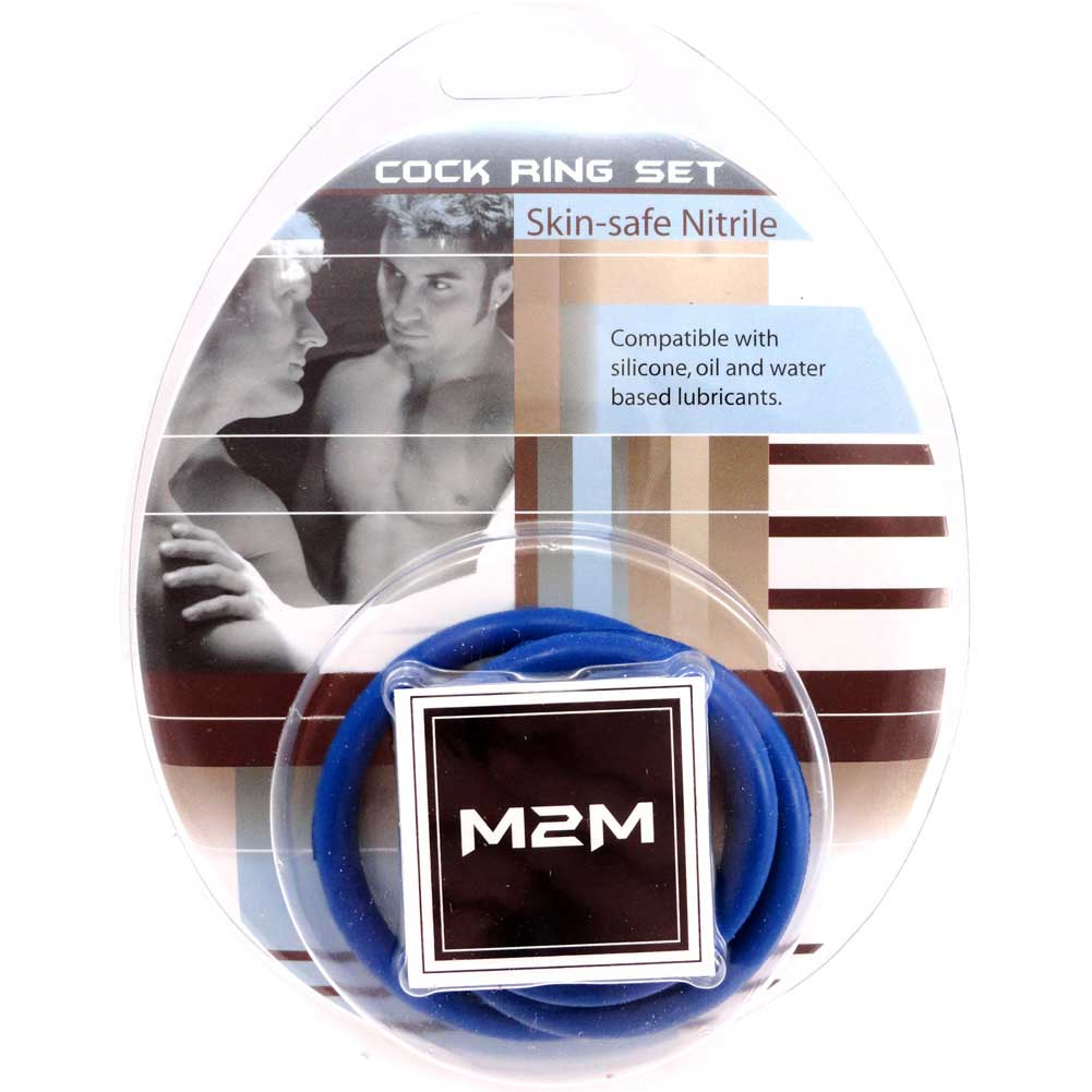 M2M Nitrile Cock Ring 3 Piece Pack Dark Blue - View #1