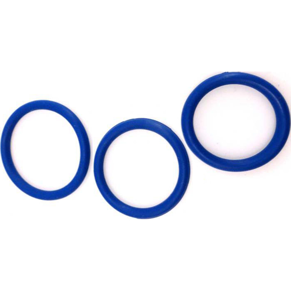 M2M Nitrile Cock Ring 3 Piece Pack Dark Blue - View #3