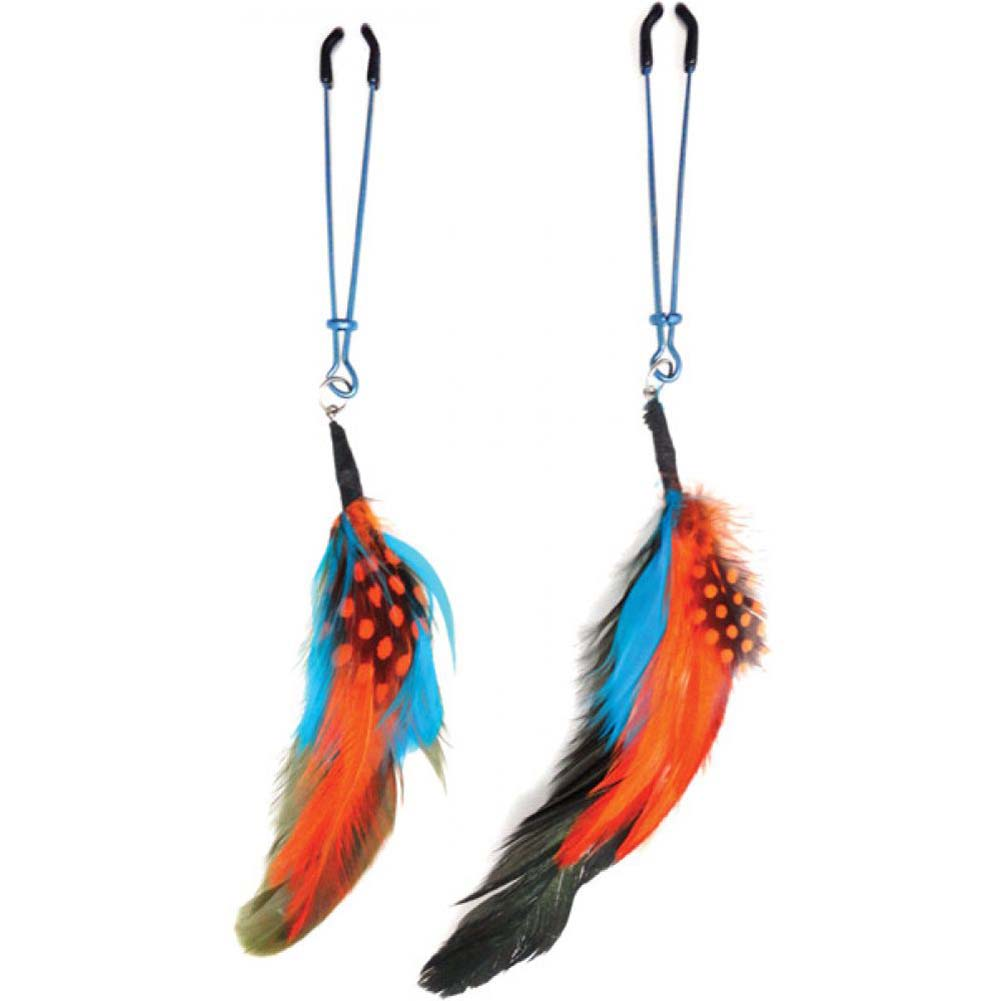Bijoux de Nip Colored Feather with Blue Tweezer Clamp - View #1