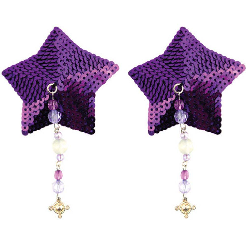 Sequin Nipple Covers Star with Beads and Pewter Charm Purple - View #1