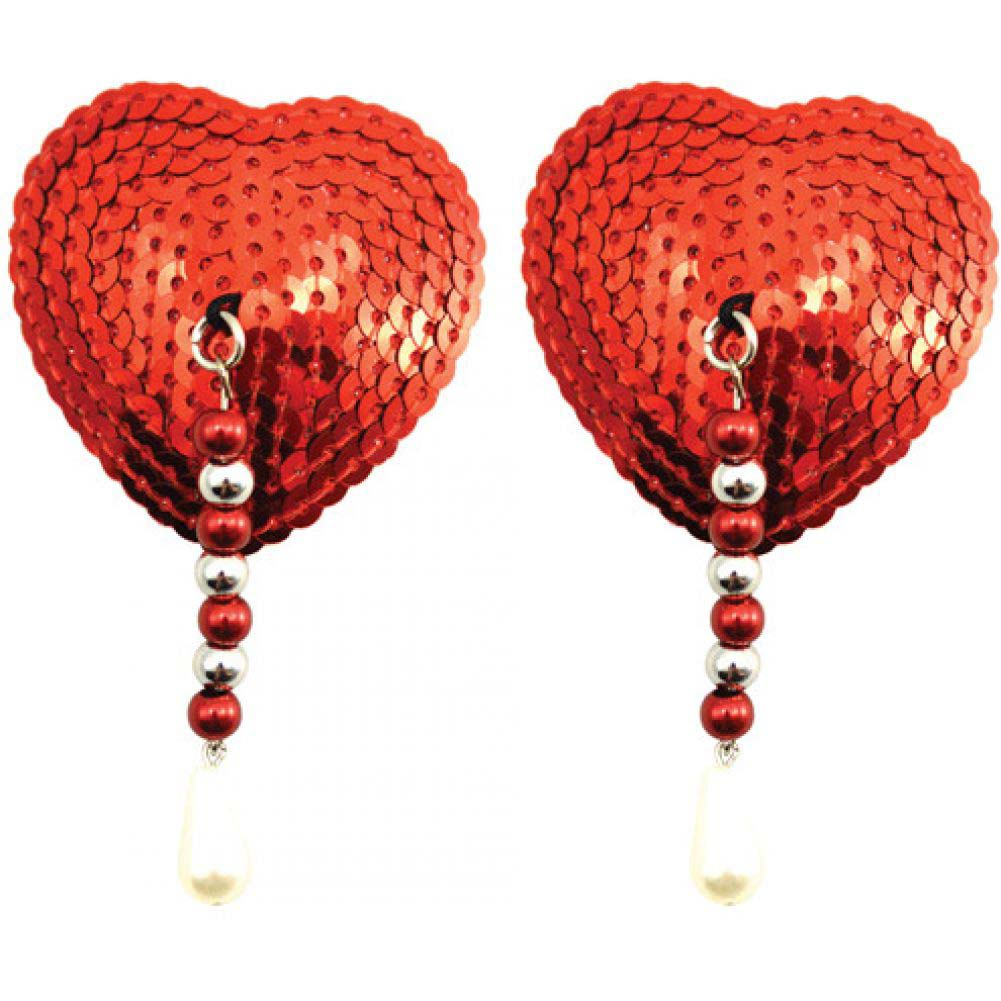 Sequin Nipple Covers Heart with Beads and Pearls Red - View #1