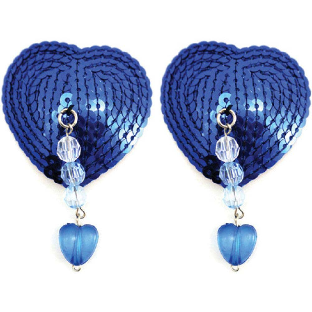 Sequin Nipple Covers Heart with Beads and Heart Charm Blue - View #1