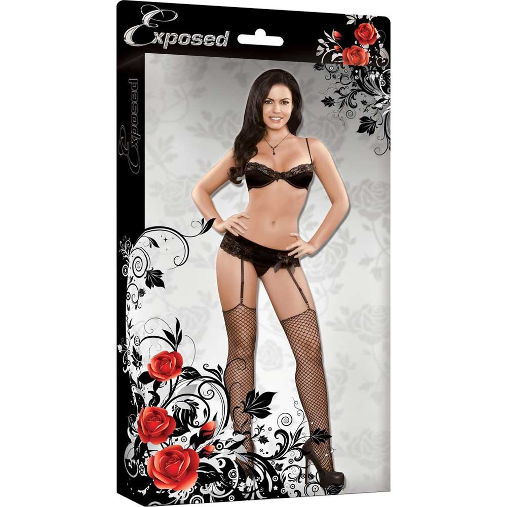 Magic Silk Precious Gems Bra Garter and G-String Set Large Black - View #4