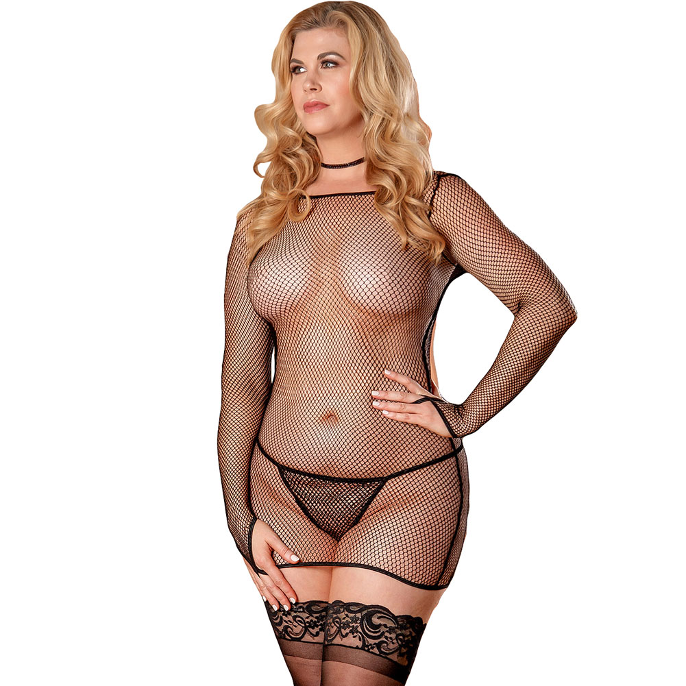 Magic Silk Fishnet Long Sleeve Dress and G-String Queen Size Black - View #1