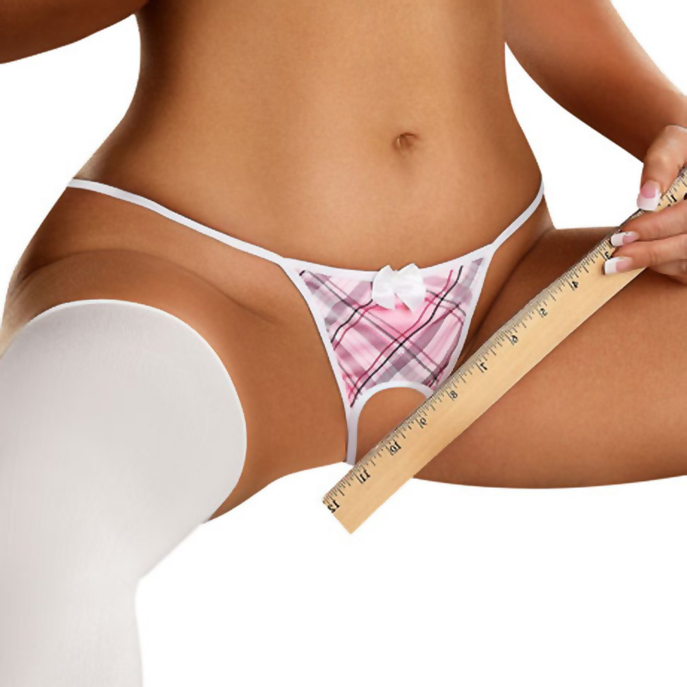 Magic Silk Omgstrings Crotchless School Girl G-String Queen Size Pink - View #1