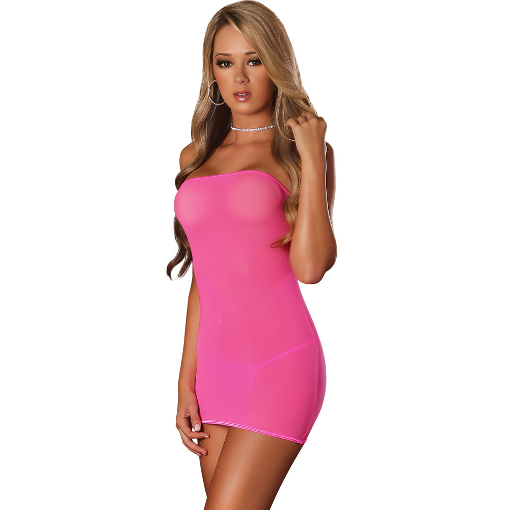 Club Seamless Neon Tube Dress and G-String One Size Black Light Neon Pink - View #1