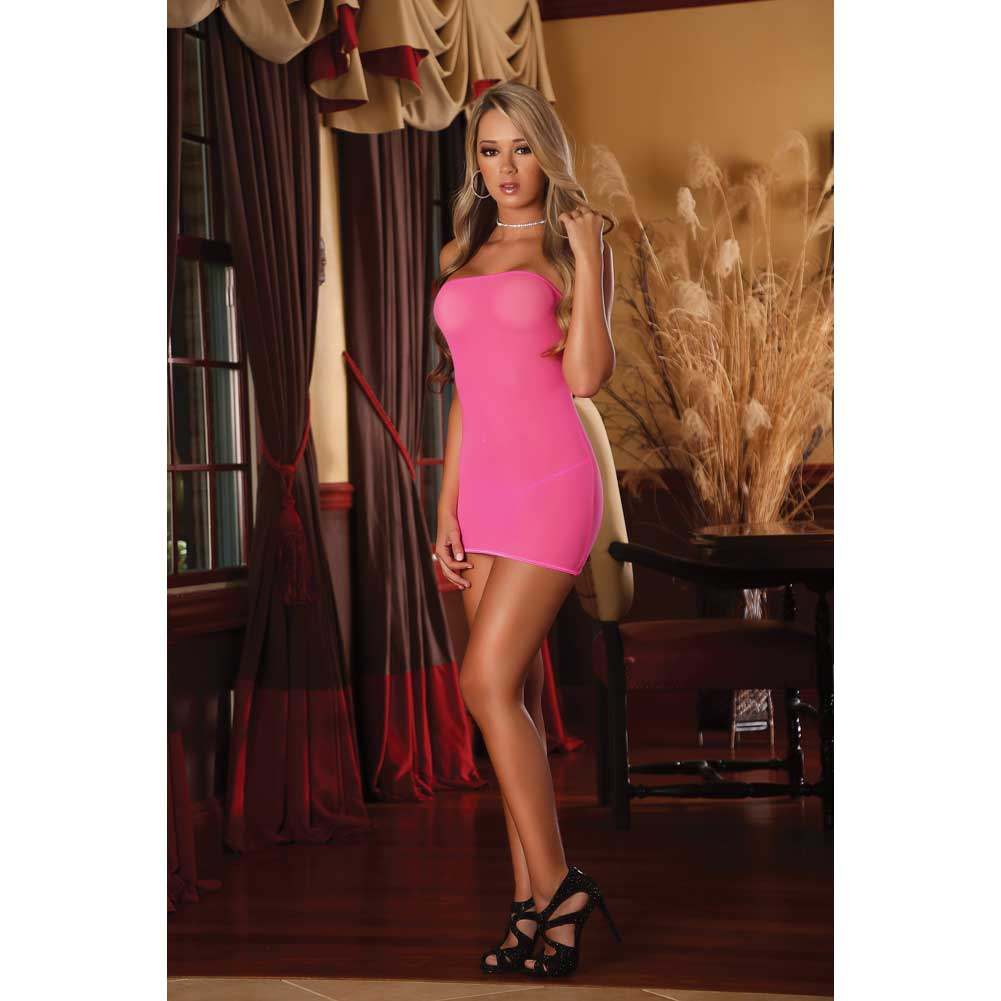 Club Seamless Neon Tube Dress and G-String One Size Black Light Neon Pink - View #3