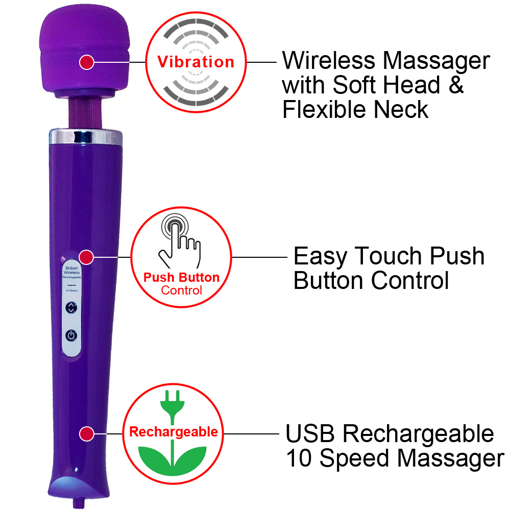 Shibari My Wand Wireless Rechargeable 10 Speed Personal Massager Purple - View #1