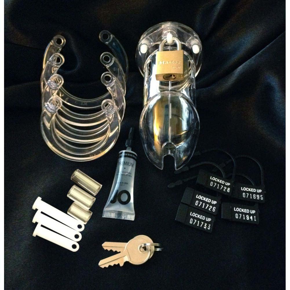 "CB-6000 Premium Male Chasity Device Cock Cage and Lock Set 3.25"" Clear - View #4"