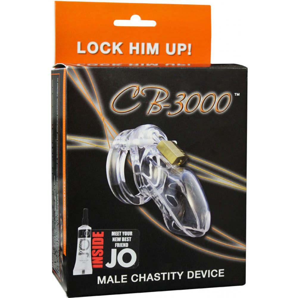 "CB-3000 Premium Male Cock Cage and Lock Set 3"" Clear - View #1"