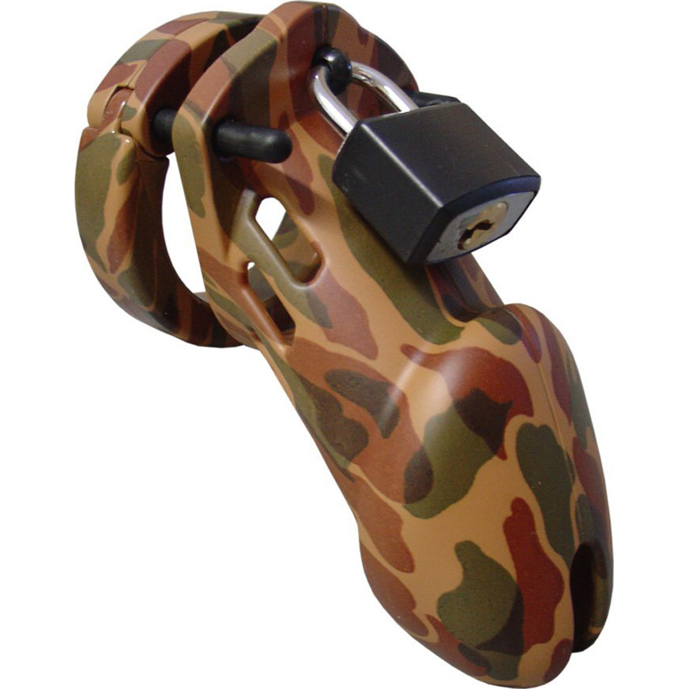 "CB-6000 Premium Male Device Cock Cage and Lock Set 3.75"" Camo - View #2"