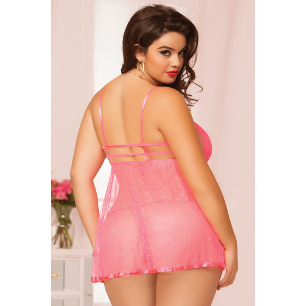 Rose Galloon Lace and Mesh Babydoll and Thong Coral Queen - View #2