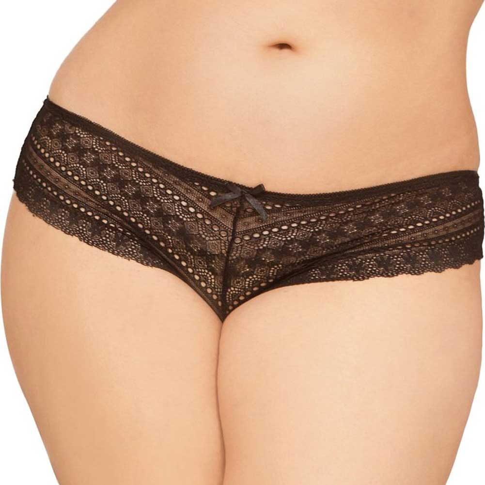 Geo Galloon Lace Panty with Lace Up Back Detail Black 1X 2X - View #2