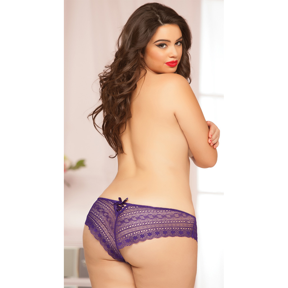 Geo Galloon Lace Panty with Lace Up Back Detail Purple 1X 2X - View #3