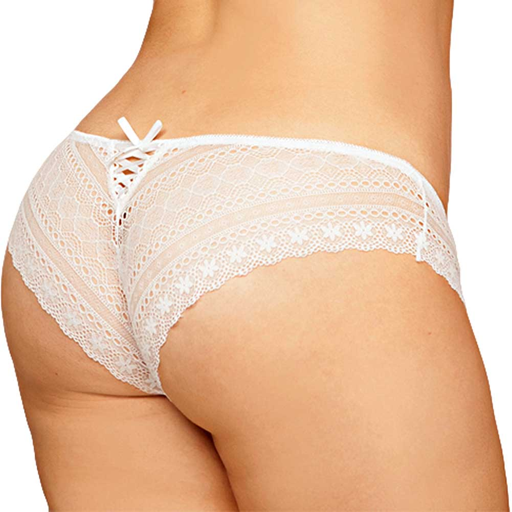 Geo Galloon Lace Panty with Lace Up Back Detail White 1X 2X - View #1