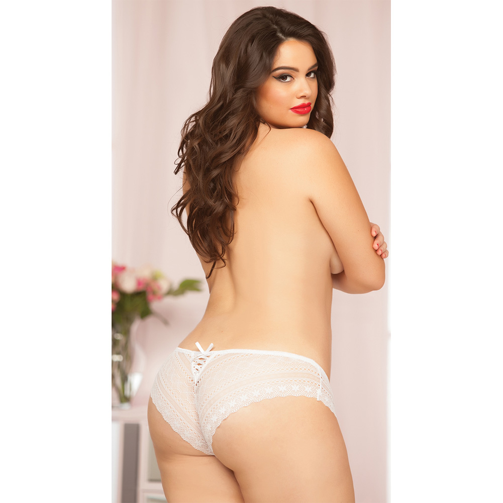 Geo Galloon Lace Panty with Lace Up Back Detail White 1X 2X - View #3