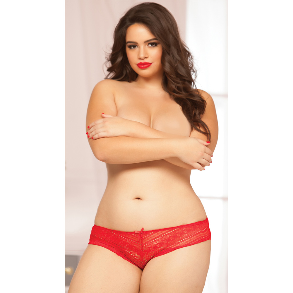 Geo Galloon Lace Panty with Lace Up Back Detail Red 1X 2X - View #4