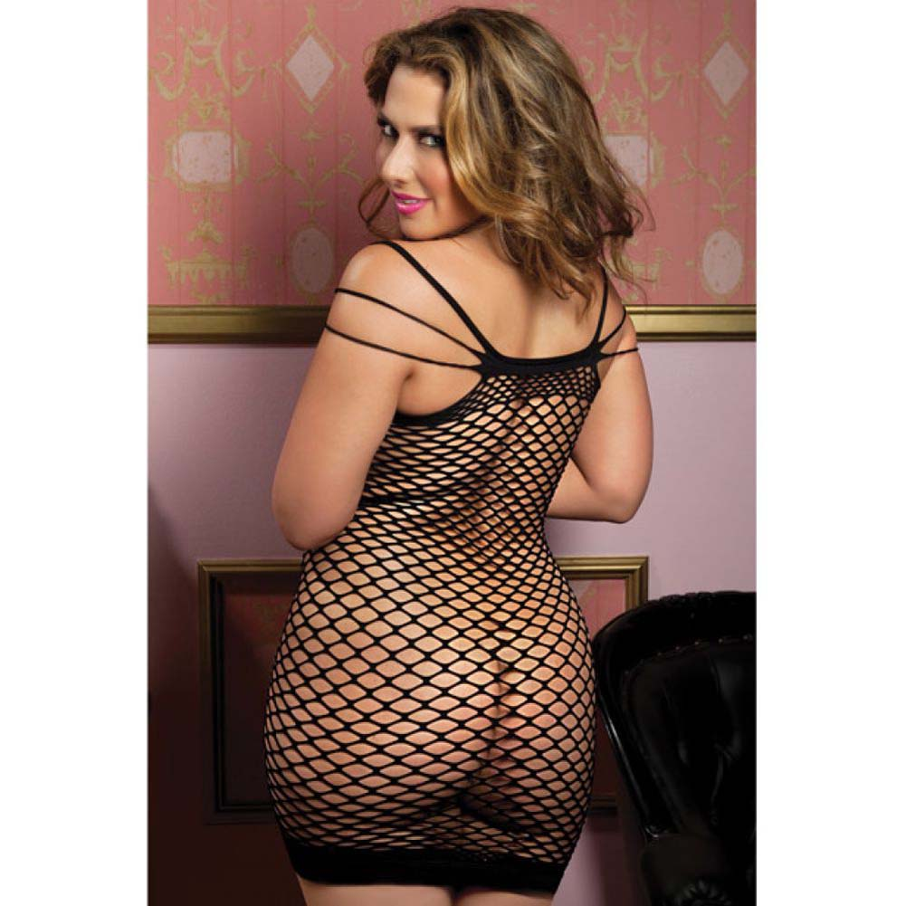 Seamless Dress with Multi Way Shoulder Straps and Fence Net Body Black Queen - View #2