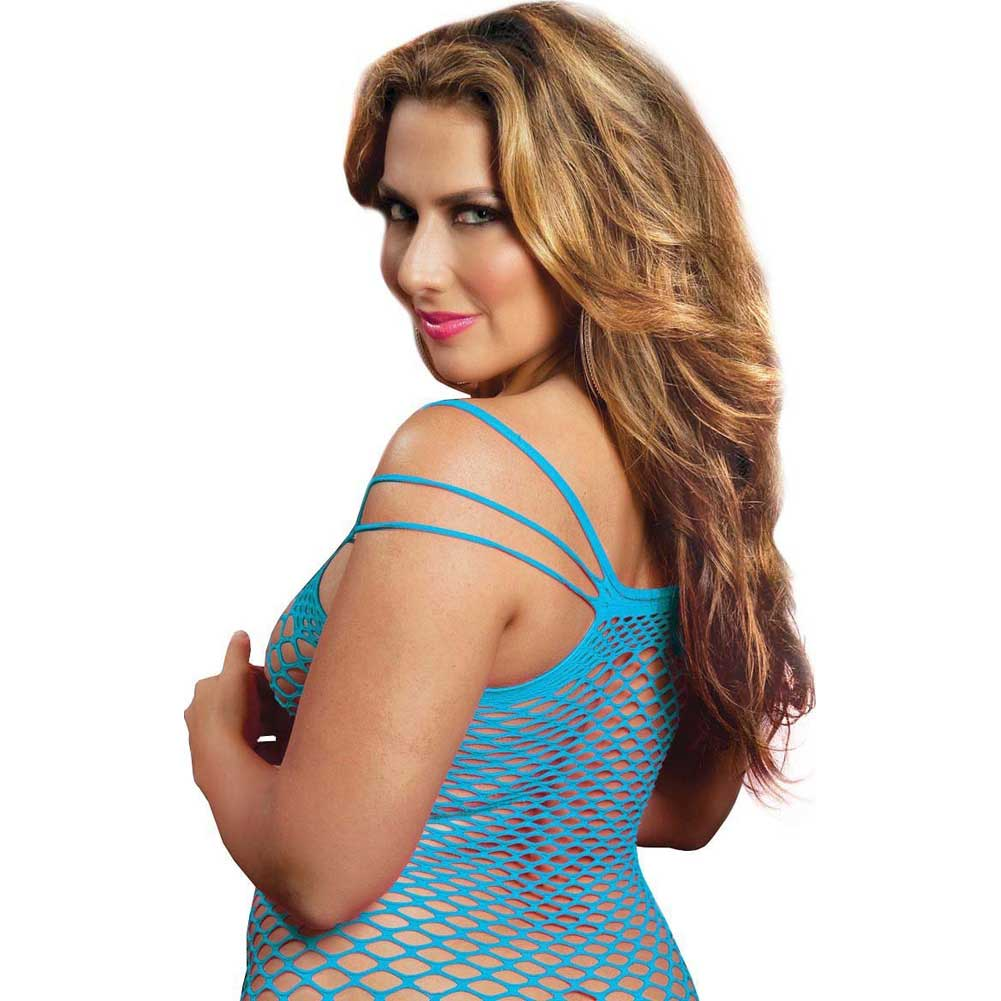 Seamless Dress with Multi Way Shoulder Straps and Fence Net Body Blue Queen - View #4