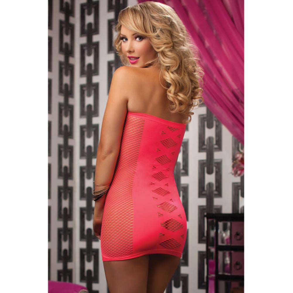 Seamless Tube Dress with Netting and Criss-Cross Detail Coral One Size - View #4