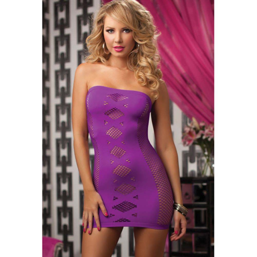 Seamless Tube Dress with Netting and Criss-Cross Detail Purple One Size - View #3