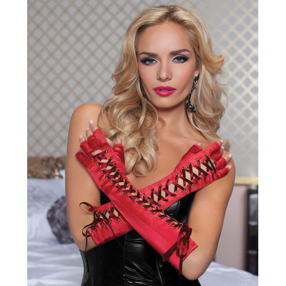 Fingerless Elbow Length Lace Up Gloves Red One Size - View #1