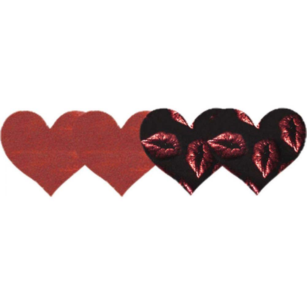 Peekaboos Pure Passion Hearts Self-Adhesive Pasties 2 Pair Pack Red and Black - View #1