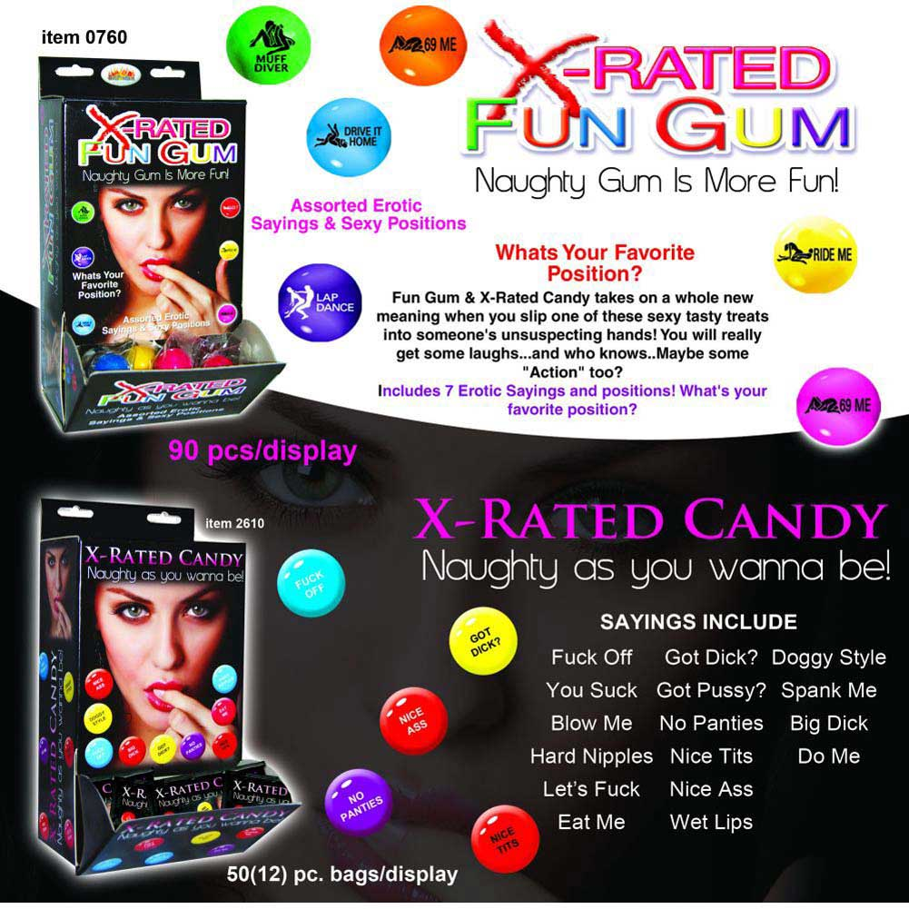 X-Rated Fun Gum with Assorted Erotic Sayings 90 Piece Display Case - View #2