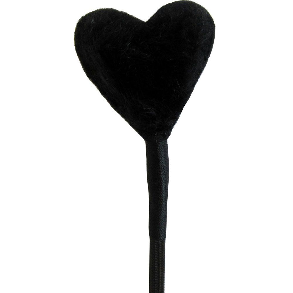 "Ruff Doggie Fluffy Leather Heart Crop with Wrist Strip 25"" Black - View #1"