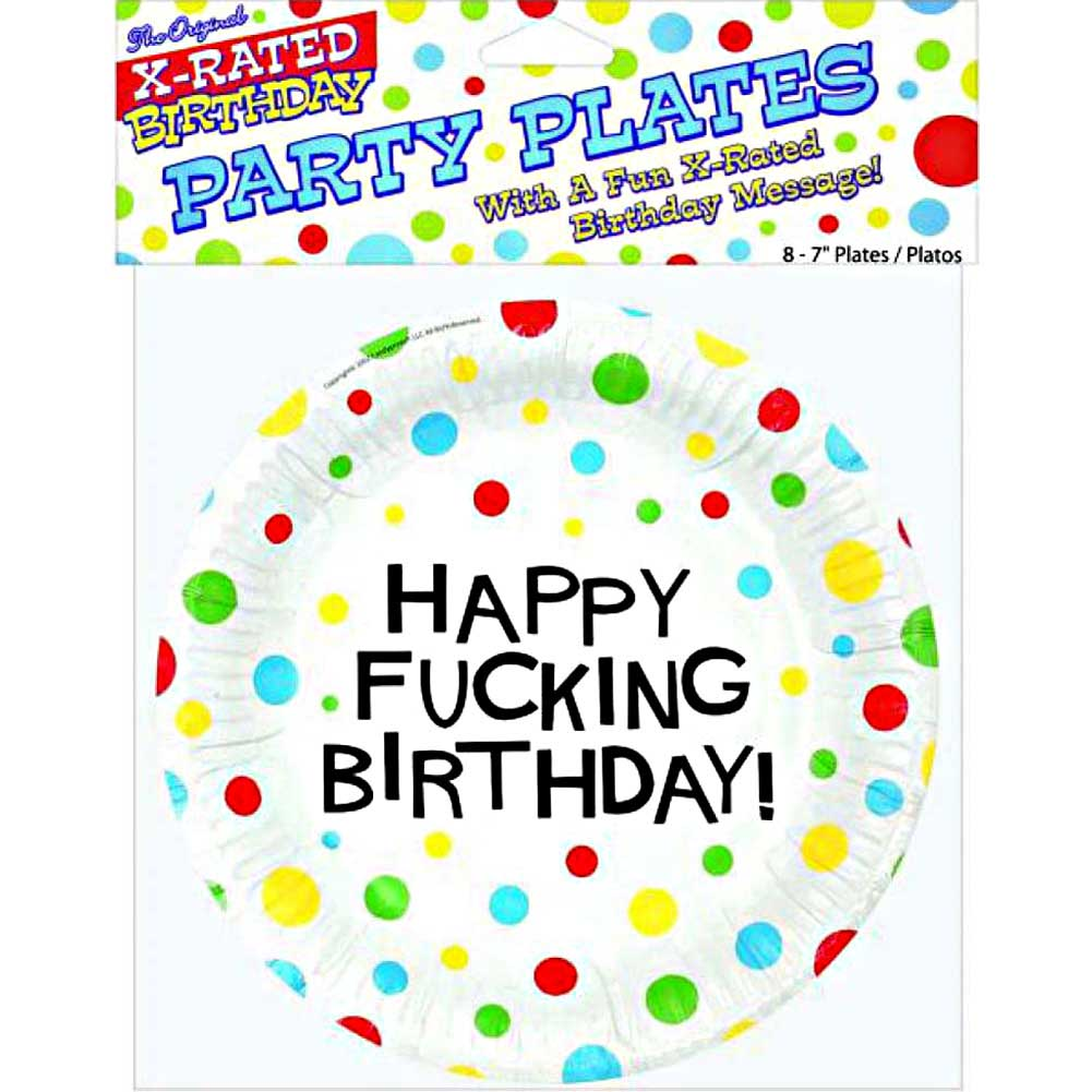 "7"" Happy Fucking Birthday Plates Bag of 8 - View #1"