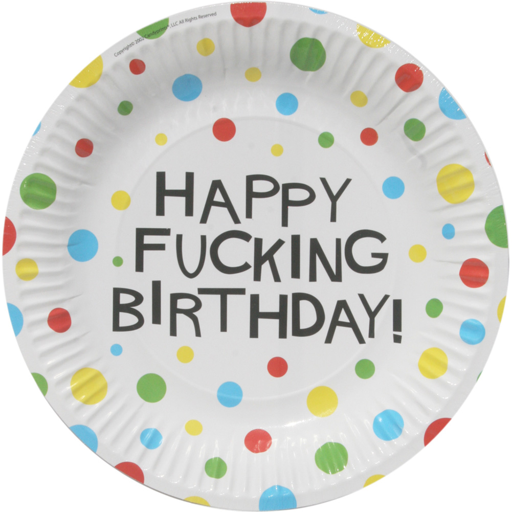 "7"" Happy Fucking Birthday Plates Bag of 8 - View #3"