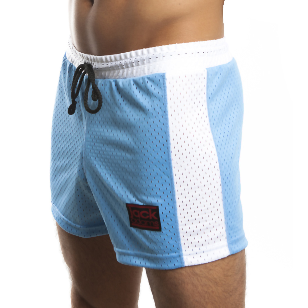 Jack Adams Air Mesh Gym Short Sky Blue White Small - View #1