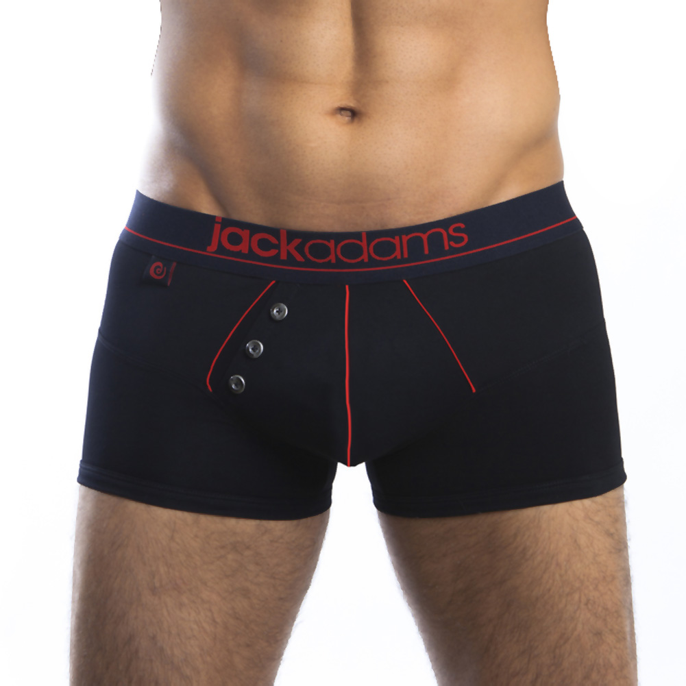 Jack Adams Navy Boxer Brief Black Red Small - View #1