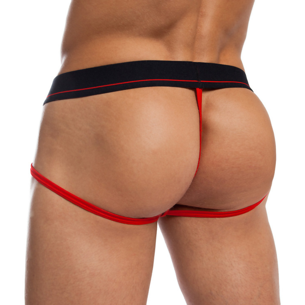 Jack Adams Jock Thong Black Red Extra Large - View #2