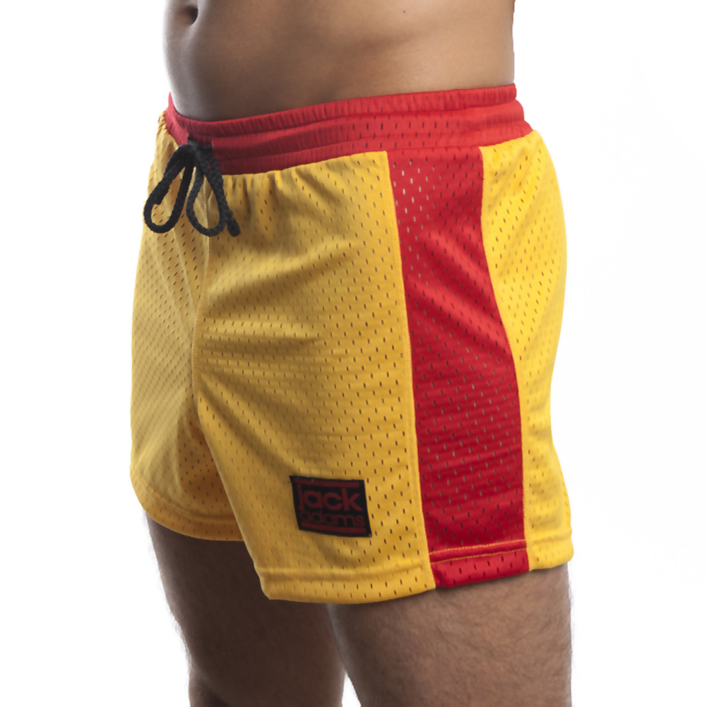 Jack Adams Air Mesh Gym Short Gold Red Small - View #1