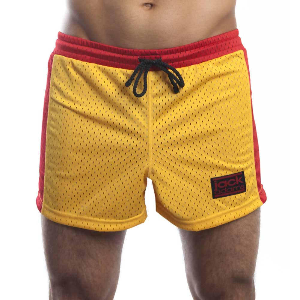 Jack Adams Air Mesh Gym Short Gold Red Medium - View #2