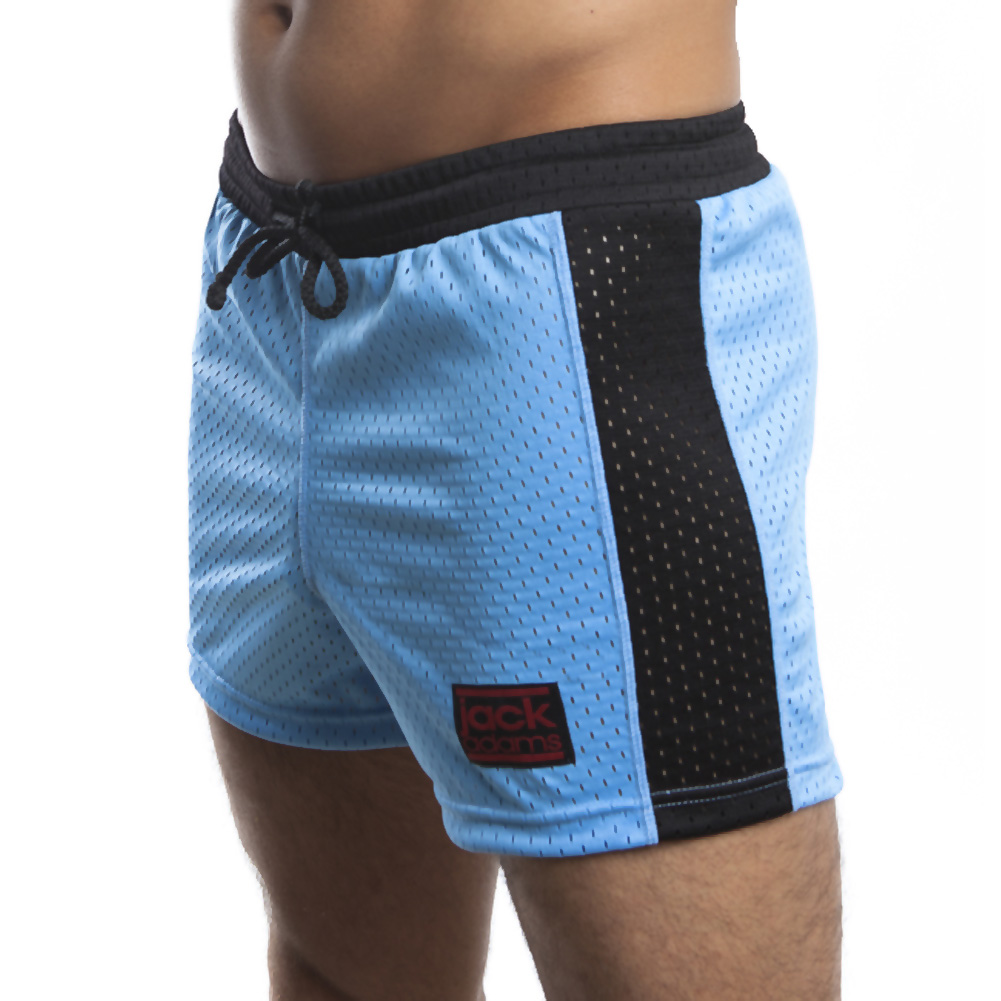 Jack Adams Air Mesh Gym Short Sky Blue Black Small - View #1