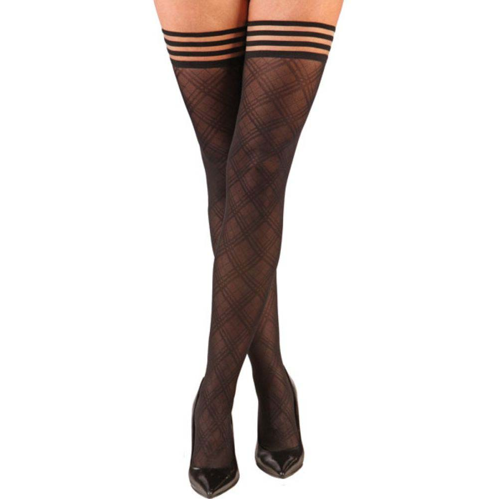 KixIes Tiffany Diamond Thigh High Black A - View #1