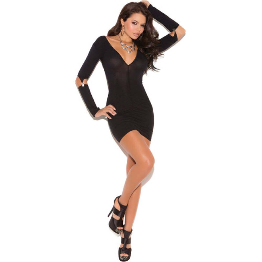 Vivace Opaque Mini Dress with Gartered Long Sleeves Black One Size - View #1