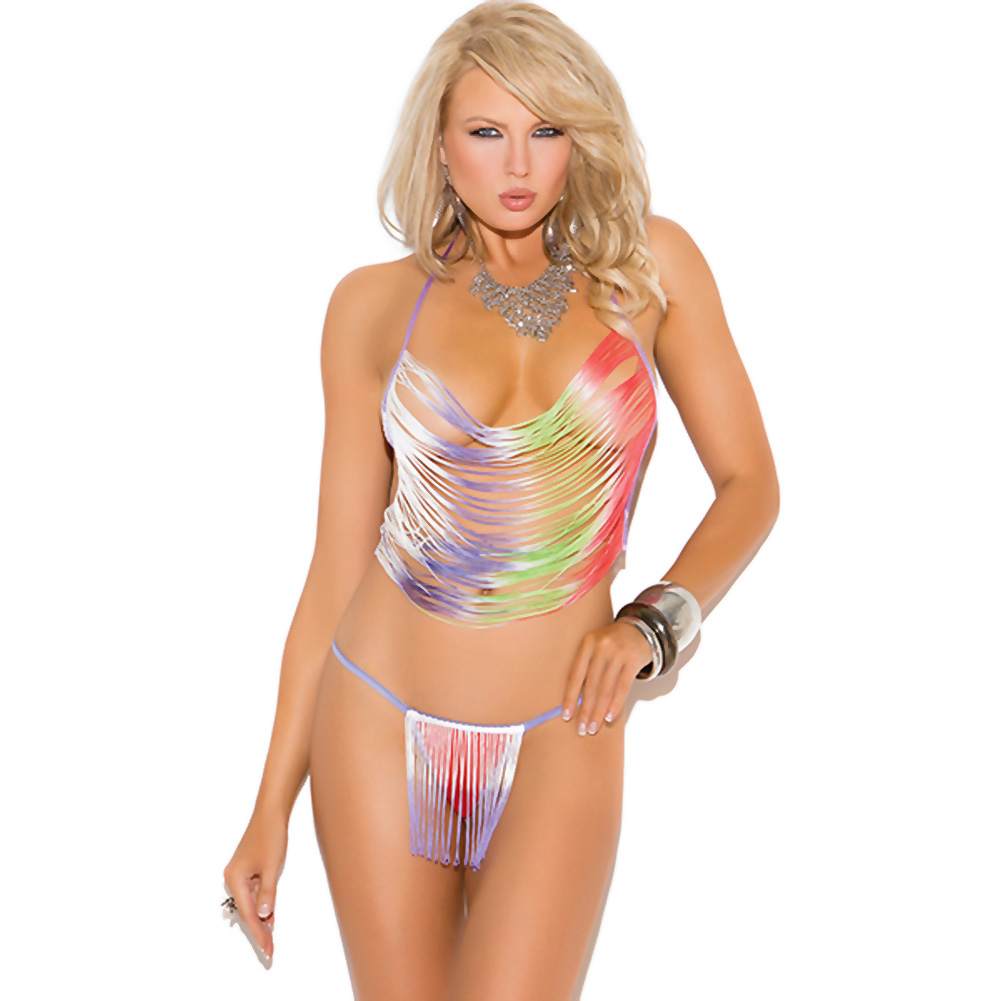 Vivace Fringe Cami Top and G-String Multi Color One Size - View #1