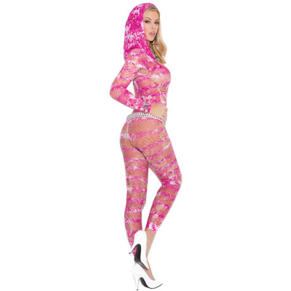 Hooded Deep V Crotchless Bodystocking in Tie Dye Print Multi One Size - View #2