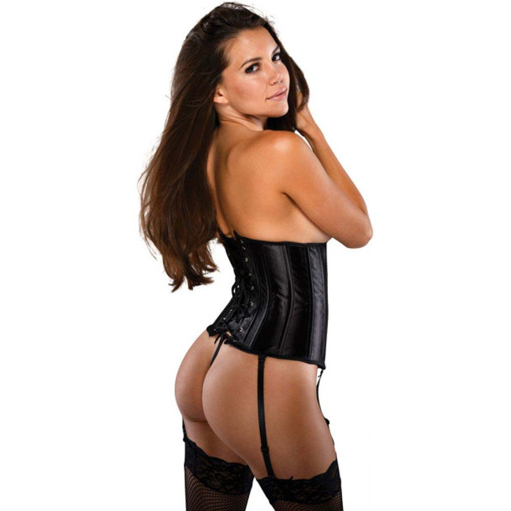 Waist Cincher Corset with G-String Black 3X 4X - View #2