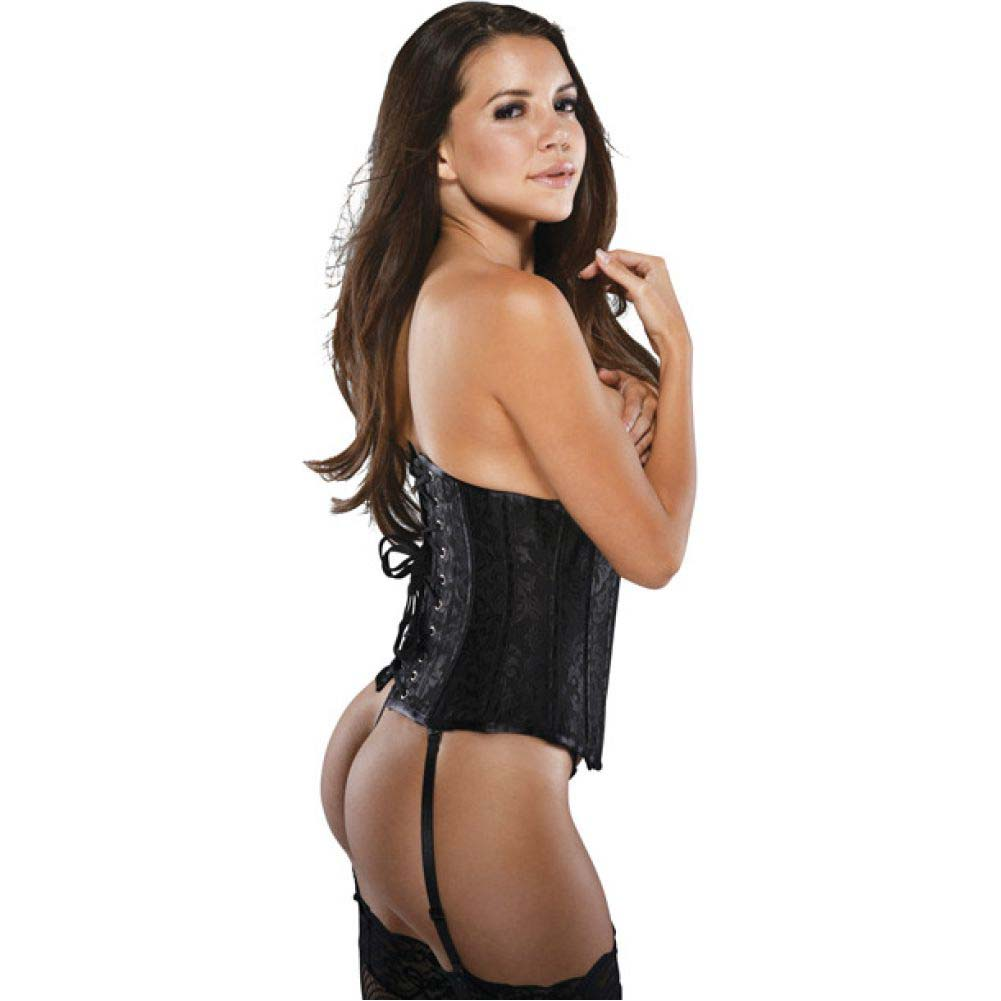 Brocade Pattern Waist Cincher with Acrylic Boning and Steel Busk Closure Black 5x 6x - View #2