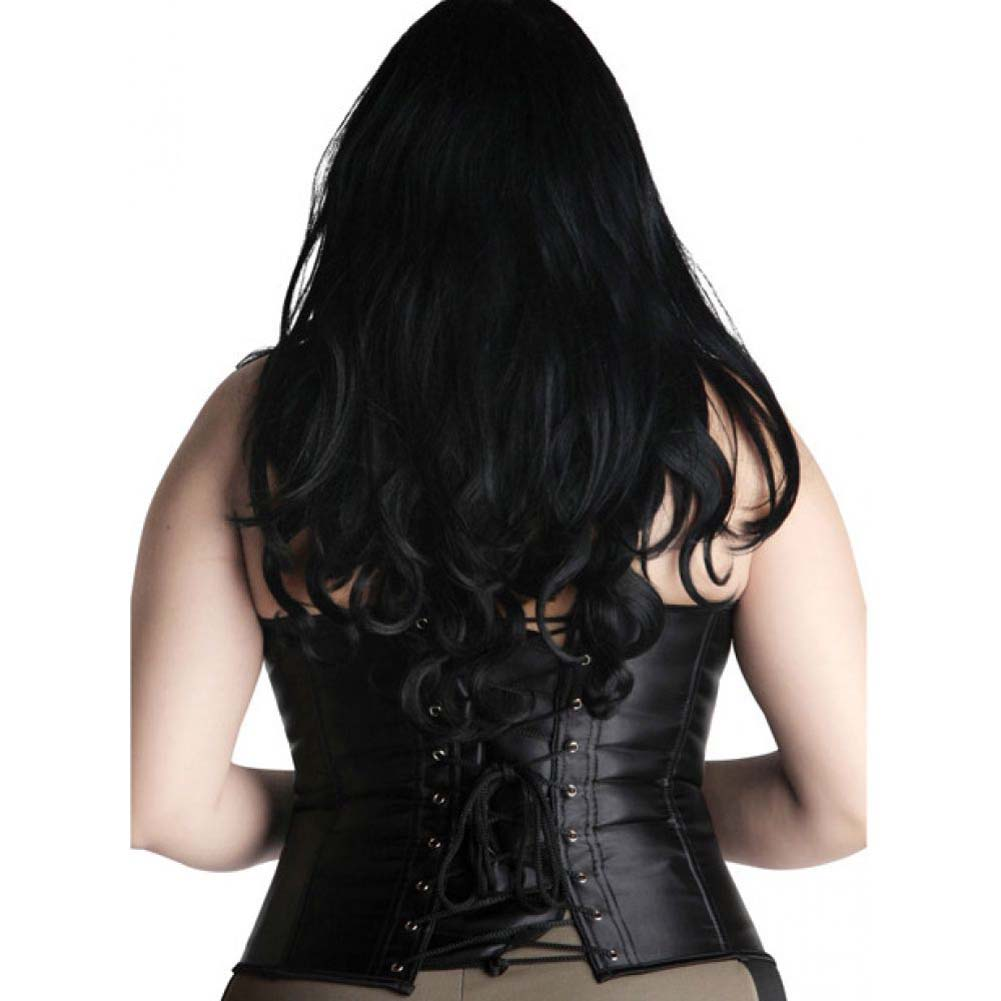 Halter Corset with Lace Top and Zip Up Front Black 2X - View #1