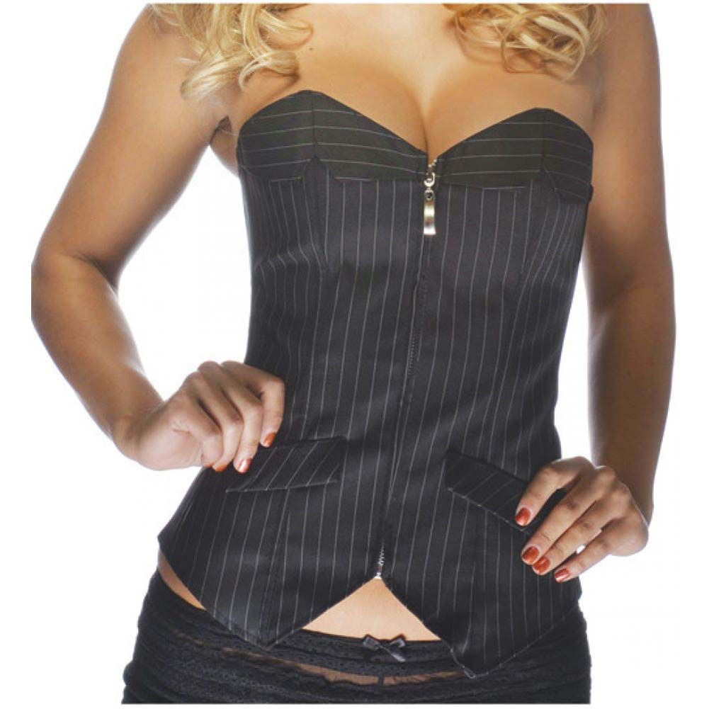 Office Girl Corset with Zip Up Front Pinstripe Black Large - View #2