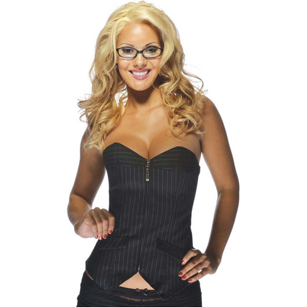 Office Girl Corset with Zip Up Front Pinstripe Black Medium - View #1