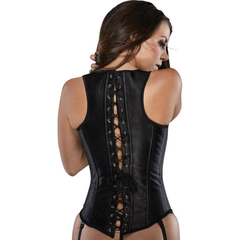 Halter Underbust Corset with Steel Busks Front Closure Black Extra Large - View #2