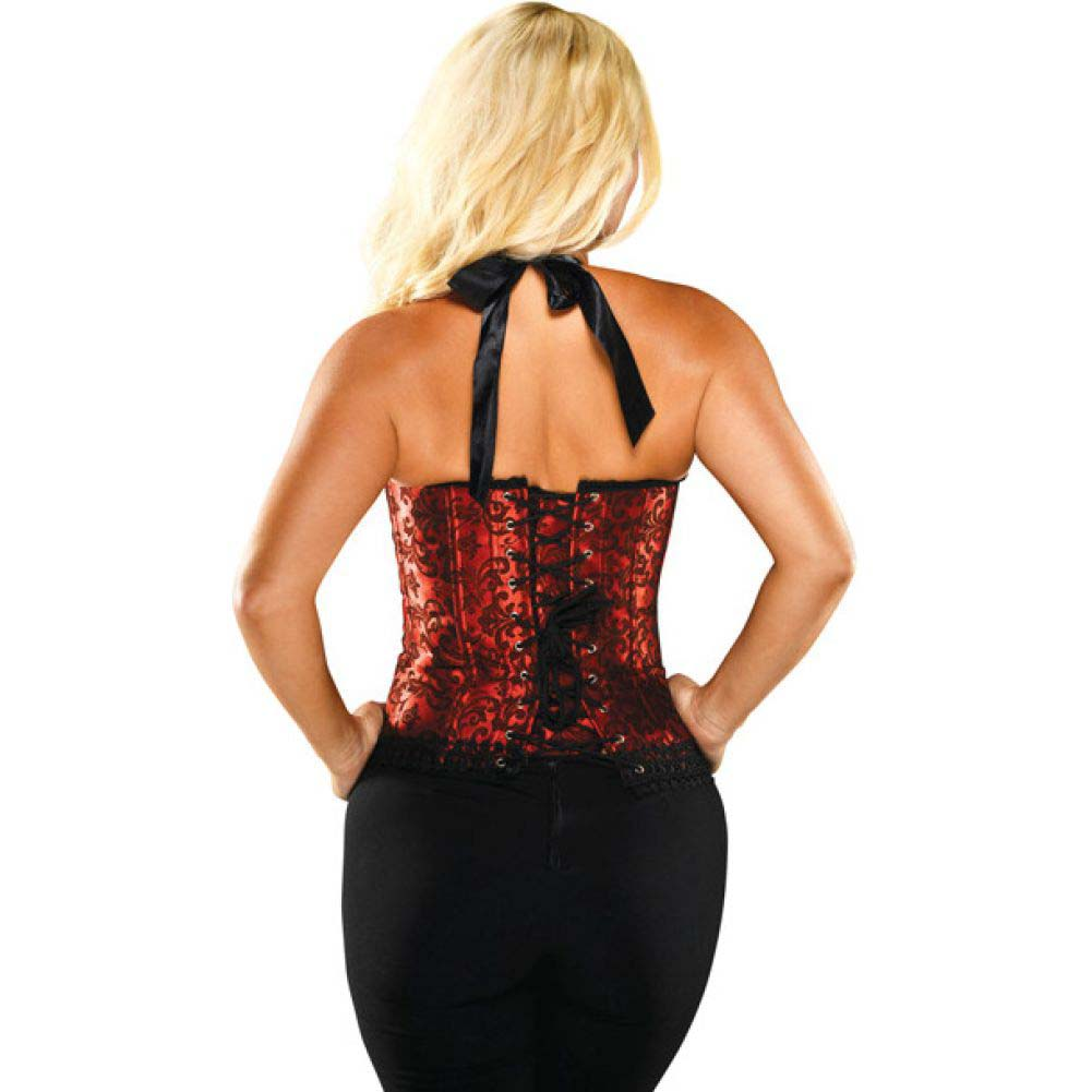 Halter Floral Print Corset with Hook and Eye Closures and Acrylic Boning Red Black 40 - View #2