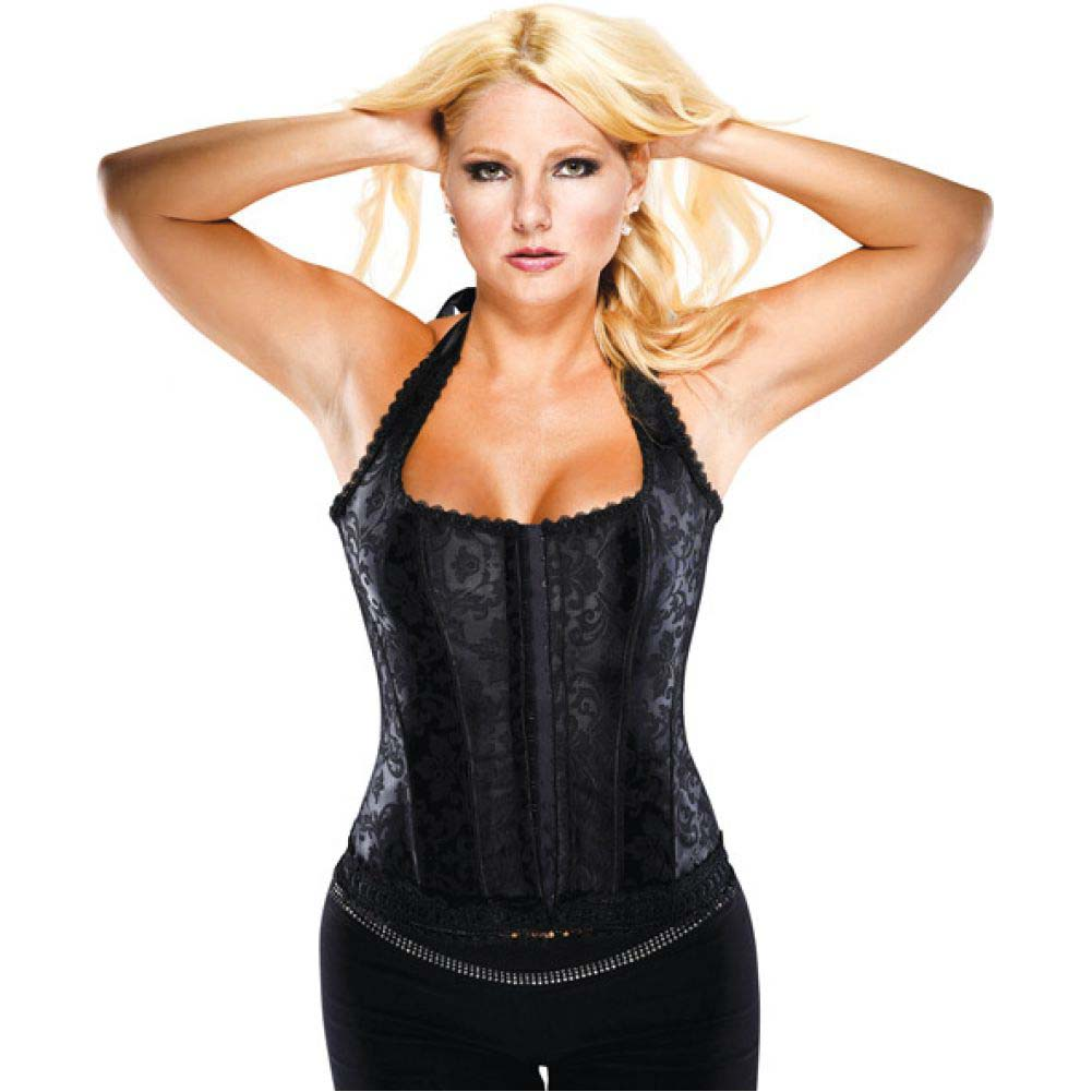 Halter Floral Print Corset with Hook and Eye Closures and Acrylic Boning Black 42 - View #1